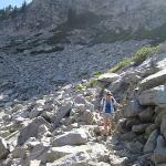 The trail crosses a rock field on the way to Eagle Lake