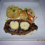NY Strip Steak, potato-cauliflower puree, steamed veggies