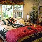Comfortable Hawaiian motif in our room.