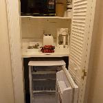"""The """"limited kitchen"""" - set inside a coat closet - now where do we hang up our clothes?"""