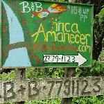 Sign to turn to Finca Amenecar road