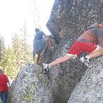 Climbing rocks at campground