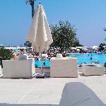 Lounging on a pool side cabana