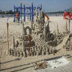 beautiful beach, sandcastle this man made.