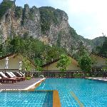 The pool, and the magnificent hill backdrop
