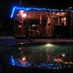 by the pool's bar at night