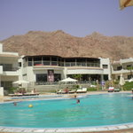 The hotel pool with the Sinai mountain backdrop!