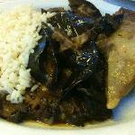 Rice, stewed eggplant, lamb kleftiko