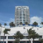 View of hotel from beach.