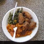 Chicken wings, sweet potatoes, green beans