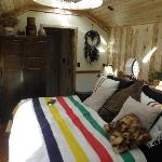 Huge bed that affords an incredible night's sleep.  Bedroom has fake fireplace that can throw th
