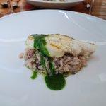 Grilled Cod over Calamari Risotto