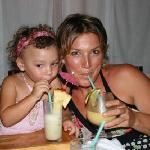My daughter and wife enjoy beverages at Archie's Wok