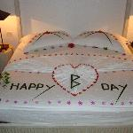 bed decoration for OH's birthday