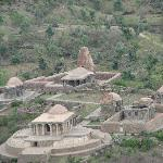 Old damaged jain and hindu temple visible around kumbhal fort