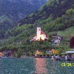 The church near the hotel at dusk