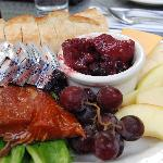 smoked salmon and huckleberry compote appetizer