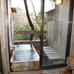 Our private hot spring outdoor bath & bathroom