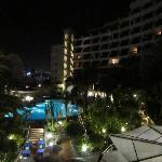 view of pool at night from room 409