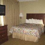 The Queen Bed area for the Queen Efficiency Suite