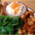 """Cheezy"" grits, kale, Southern Fried ""Chiggen"" Tofu. All SOOO yummy!!"