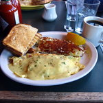 My blackened wild king salmon omelet  with hollandaise sauce