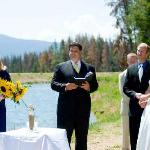 A wedding behind the cabins