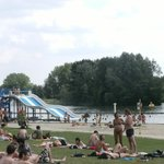 swimming lake and waterslide