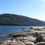 The rocky area and shallow water are good for kids to play around in (but cold!)