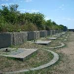 The gun emplacements line the top of the ramparts.