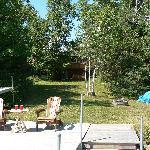 at the dock, looking back at the B&B, you can see the hot tub on the deck