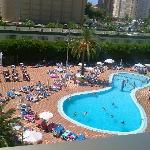 view from balcony of pool