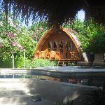 One of the lovely bungalows, pool in front