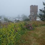 Castle in the morning fog