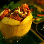 Seafood curry baked in coconut