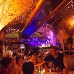 Inside the restaurant.  Christmas lights