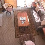 Living room looking down from loft bedroom