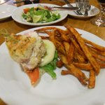 Chicken bournise on foccacio with sweet potato fries