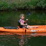 Sophie's first kayak adventure on the pond.