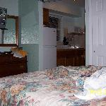 Inside motel room looking towards kitchen