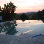 Sunset at their seamless pool