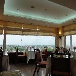 nice view and food in the restaurant on the top floor of the hotel