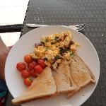 Chorizo scrambled egg and roasted vine tomatoes.... breakfast special!