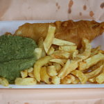 Fish and chips and mushy peas after unwrapping
