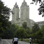 Riding bikes through Central Park and seeing famous buildings nearby.