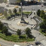 Southern view from LR & Guest BR of suite #1710 of Columbus Circle fountains and statue.