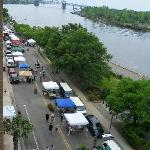 Wilmington Farmer's market as seen from balcony