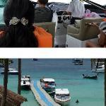 Speed boat (bateau) et port de l'île Racha.