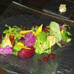 Russian Salad of Totaig Beetroot & Asparagus with Rocket, Mixed Seed Praline