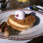 Debbie's delicious huckleberry pancakes, topped with huckleberry ice cream.  Yum!